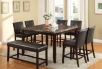 8 pc Idris collection square espresso finish wood and faux marble top counter height dining table set with leather like vinyl seating