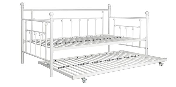DHP Manila Metal Framed Daybed with Trundle, Twin - White