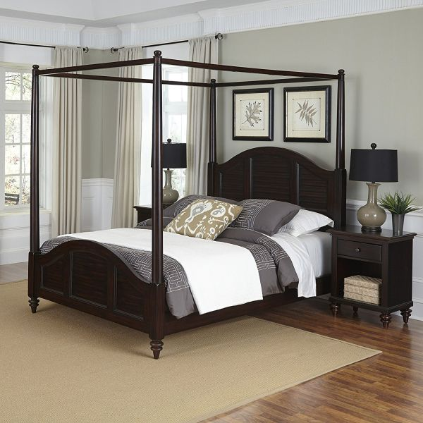 Home Styles 5542-5102 Bermuda Canopy Bed and Two Night Stands Espresso Finish, Queen
