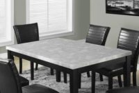 Monarch Specialties Grey Lacquered Marble-Look Dining Table, 38 x 64-Inch
