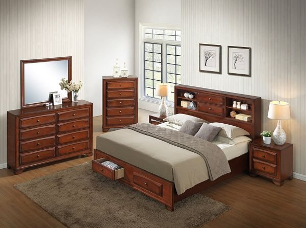 Furniture Roundhill Asger Antique Oak Finish Wood Bed Room Set, King Storage Bed, Dresser, Mirror, 2 Night Stands, Chest