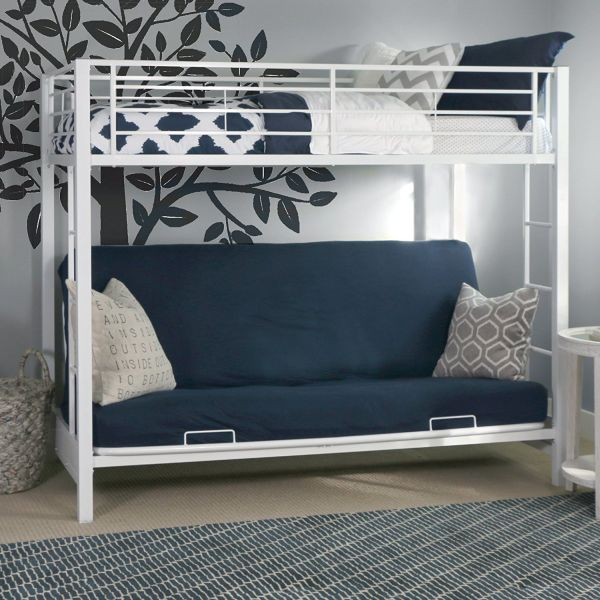 white bunk bed with futon