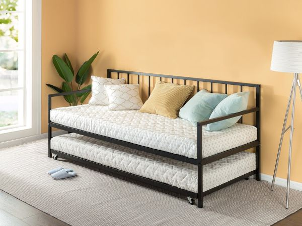 Zinus Newport Twin Daybed and Trundle Set Premium Steel Slat Support Daybed and Roll Out Trundle Accommodate Twin Size Mattresses Sold Separately