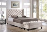 Baxton Studio Norwich Linen Modern Platform Bed with Bench, King, Light Beige