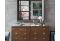 Mid Century Modern Danish Wood Dresser Table and Mirror with 6-Storage Drawers Chrome Handles