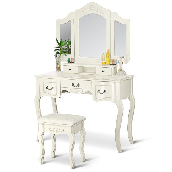 French Vintage Bedroom Furniture Ivory White Vanity Dressing Table Set Makeup Desk with Stool and Mirror