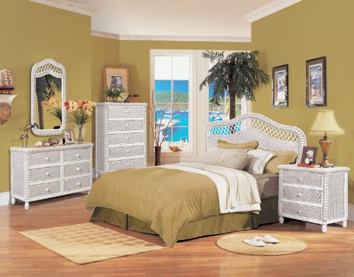 Santa Cruz White Wicker Bedroom Furniture Rattan. Tropical Bedroom Set