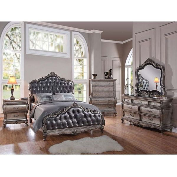 1PerfectChoice Chantelle 3 PCS Set Eastern King Bed in Antique Silver Bedroom Furniture Finish Two Nightstand