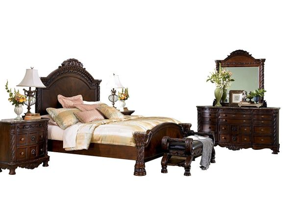 Ashley North Shore Bedroom Set with King Bed, Dresser, Mirror and Nightstand