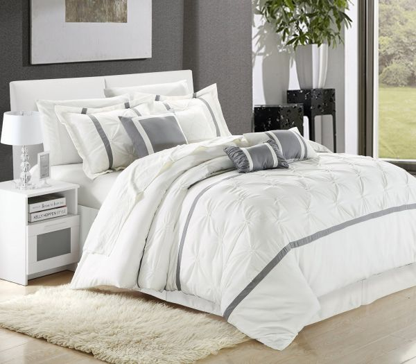 Chic Home Vermont 8-Piece Comforter Set Queen Size White