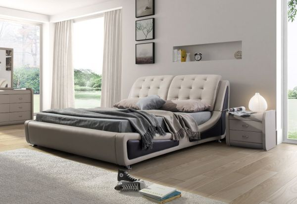 Container Direct Olivia Collection Contemporary Faux Leather Upholstered Platform Bed With Tufted Headboard, BrownGray, Queen Size