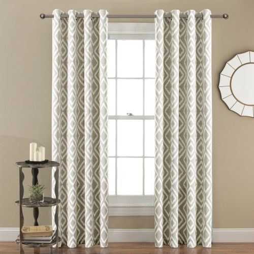 FlamingoP Room Darkening Ikat Fret Blackout Top Grommet Unlined Thermal Insulated Window Curtains