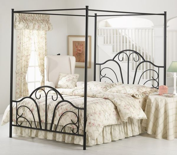 Hillsdale Furniture Dover Canopy Bed Set with Rails and Legs Textured Black