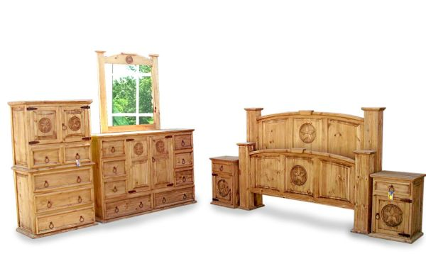 King Size Mansion Rustic Bedroom Sets 6 Pcs