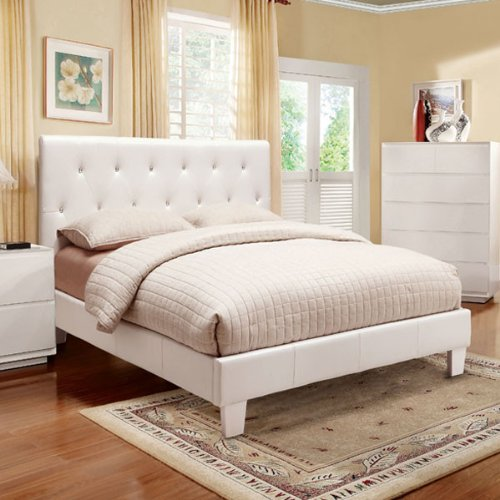 Mantua Modern Style White Finish Leatherette Bed Frame Set White Bedroom sets Queen Size