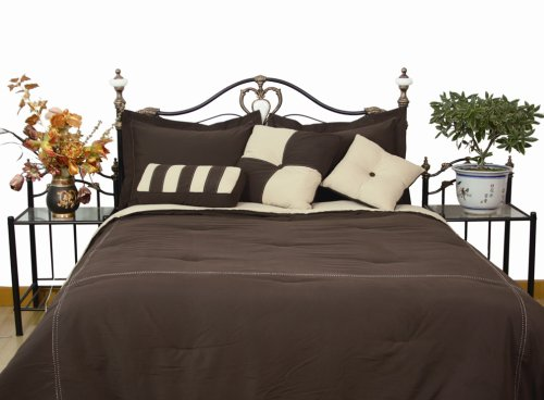 Microfiber King Comforter Set, Chocolate / Khaki