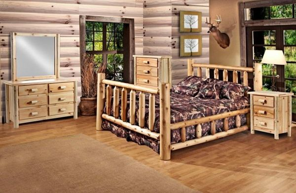 Rustic 5 Pc Pine Log Bedroom Suite Lodge Bed Queen Size