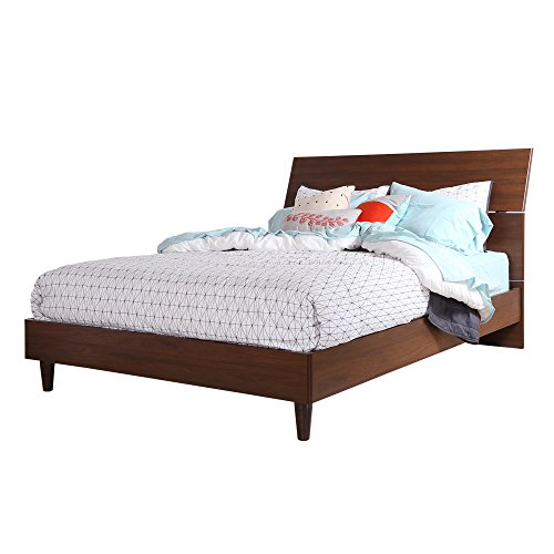South Shore 60-Inch Olly Mid-Century Modern Platform Bed with Headboard Queen Size Brown Walnut