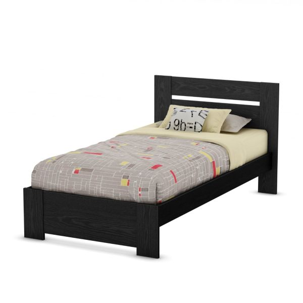 South Shore Flexible Collection Twin Bed, Black Oak
