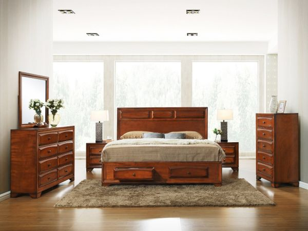 Antique Oak Finish Wood BedRoom Set Queen Storage