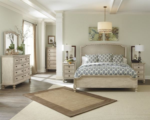 Ashley Demarlos 4 pc King Bedroom Set White Glove