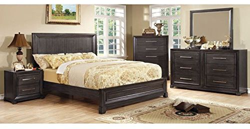 Bradley Transitional Style Dark Gray Finish Cal King Size 6-Piece Bedroom Set