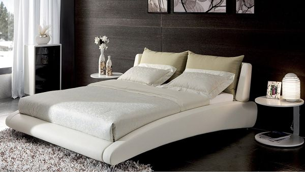 Cadillac King White Leather Platform Bed