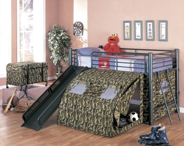 Coaster Kids GI Child Bunk Bed with Slide and Tent Twin Size