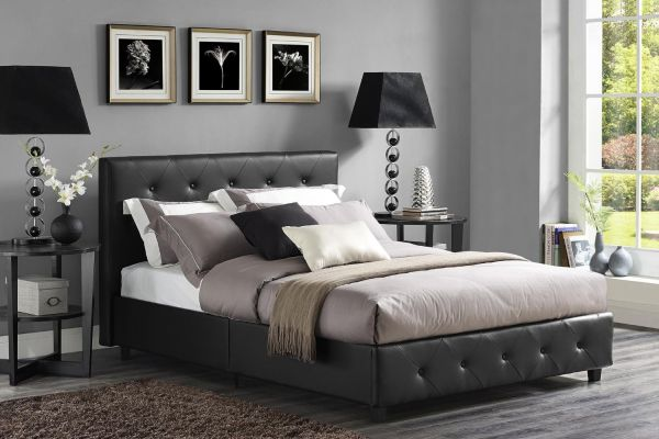DHP Dakota Faux Leather Upholstered Platform Bed Queen Black Bedroom Furniture