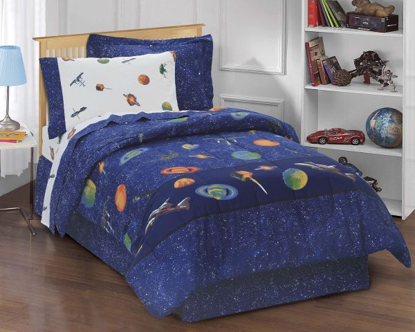 Dream Factory Outer Space Satellites Boys Comforter Set Blue Twin