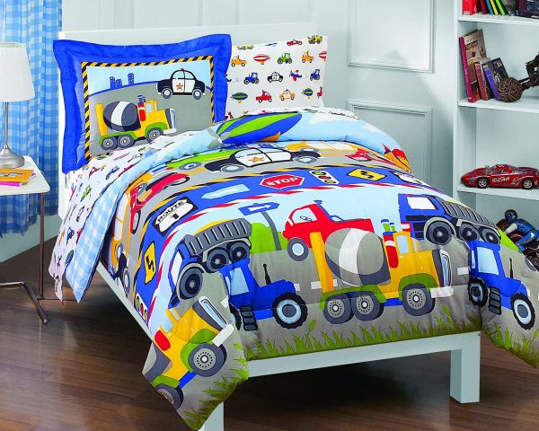 Dream Factory Trucks Tractors Cars 5-Piece Comforter Sheet Boys Bedroom Sets