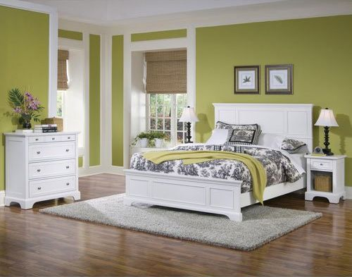 Home Styles Naples Queen Bed Night Stand and Chest White Finish