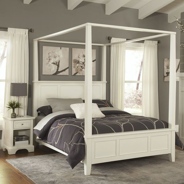 Home Styles Naples Queen White Canopy Bedroom set and Night Stand