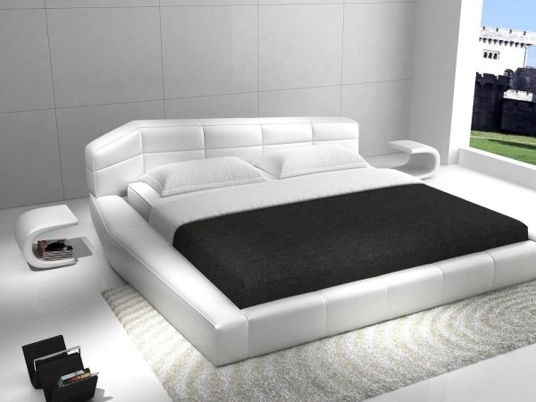 JM Furniture Dream White Leather Queen Size Modern Bedroom Furniture Set