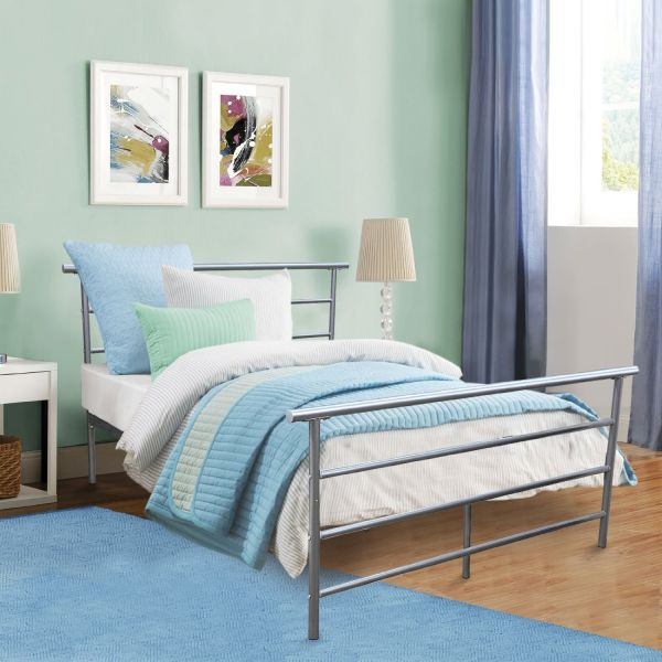 Kingpex Full Size Bed Platform Frame Headboard Footboard Steel Metal Silver Bedroom Furniture