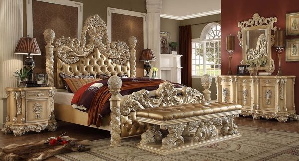 Luxury Bedroom Furniture Design Victorian Elegance 5 piece Hand Carved California King Size