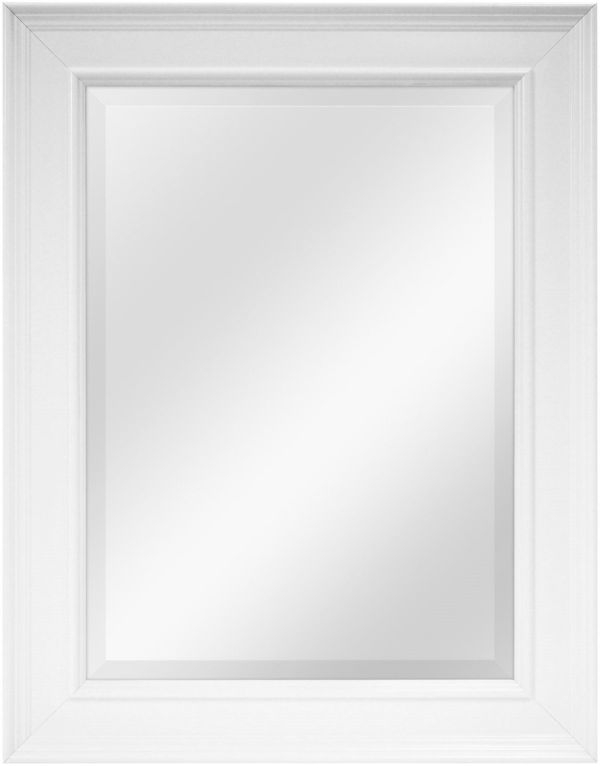 21.5-Inch Beveled Mirror with 21.5 by 27.5-Inch Frame White