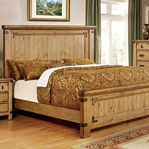 Pioneer Country Bedroom Sets Style Weathered Elm Finish King Size 6-Piece Bedroom Set