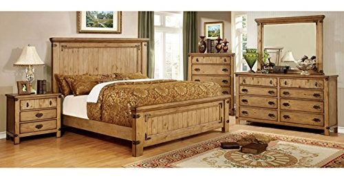Pioneer Country Style Weathered Elm Finish Queen Size Bedroom Set