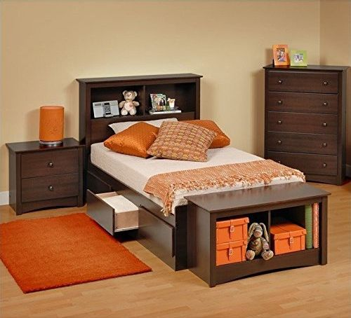 Prepac Fremont 5-Piece Twin Youth Bedroom Sets in Espresso
