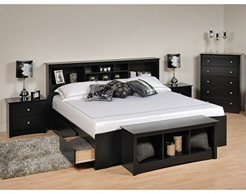 Prepac Sonoma 5-Piece King Bedroom Set with Storage Bench in Black