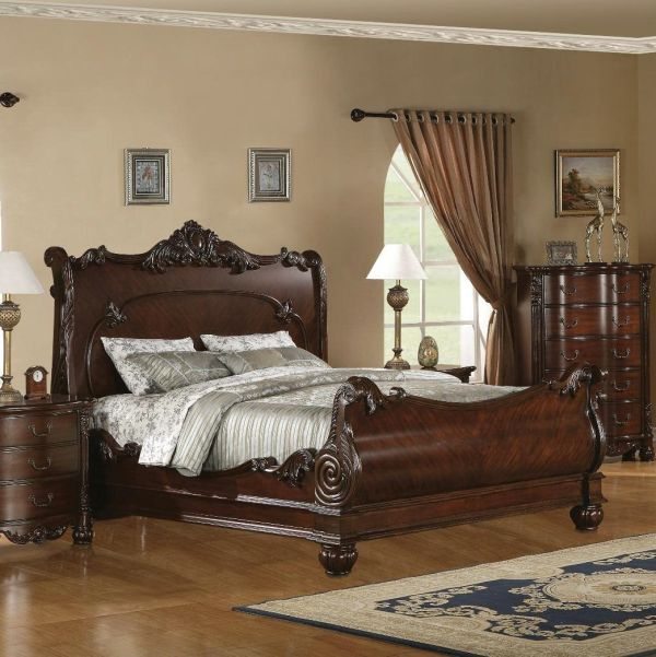 Roundhill Furniture Saillans Solid Wood Construction Bed King Cherry Finish