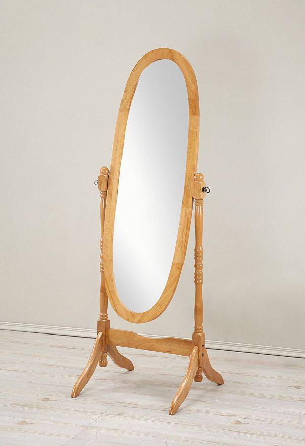 Roundhill Furniture Traditional Queen Anna Style Wood Floor Cheval Mirror Oak Finish