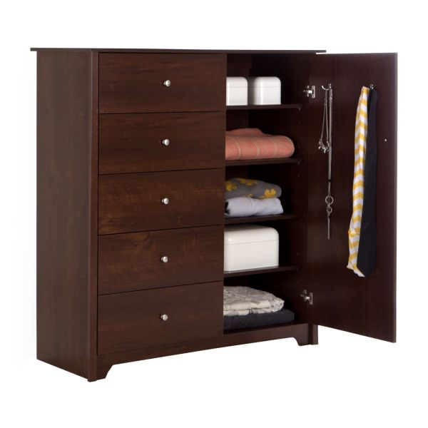 South Shore Vito Door Chest with 5 Drawers Sumptuous Cherry