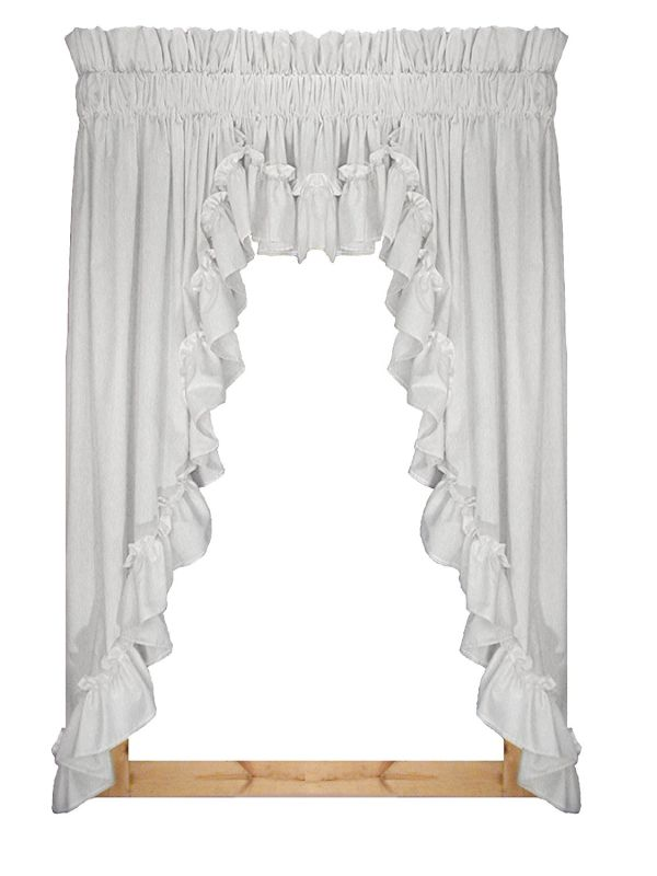 Stephanie Country Style Ruffle 3 Piece Swag Curtains Set 132-Inch-by-54-Inch 3 Inch Rod Pocket