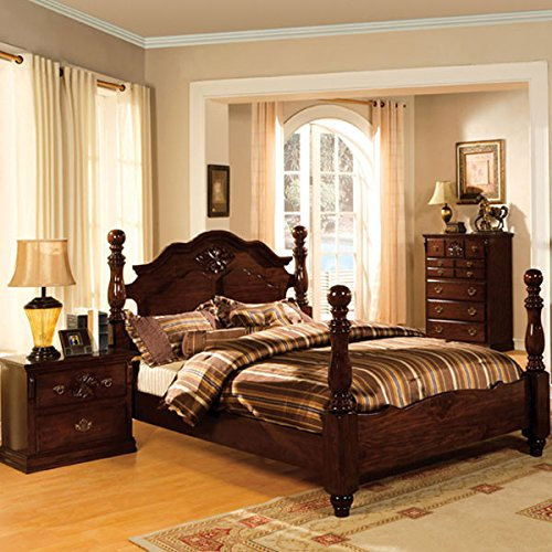 Tuscan Colonial Style Dark Pine Finish Cal King Size 6-Piece Bedroom Set
