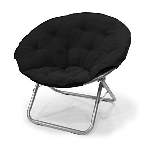 Urban Shop Microsuede Saucer Chair Black