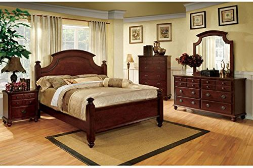 Gabrielle French Country Style Dark Cherry Finish Eastern King Size Bedroom Set