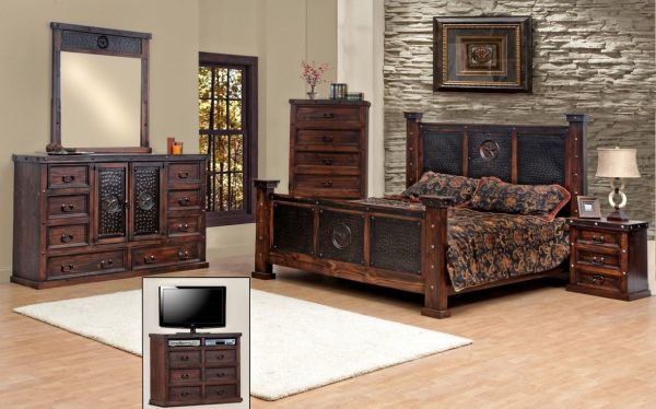 King Size Copper Creek Bedroom Set Dark Stain Western Rustic