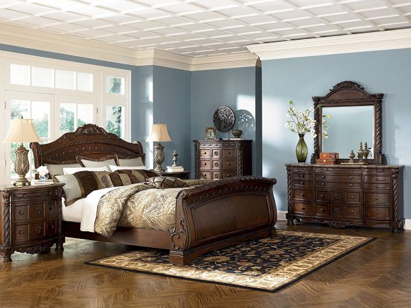 North Shore Queen Size Bedroom Set By Ashley Sleigh Bed Dark Brown